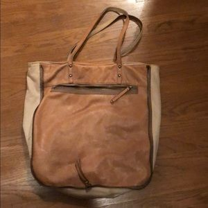 J crew leather and cloth tote bag